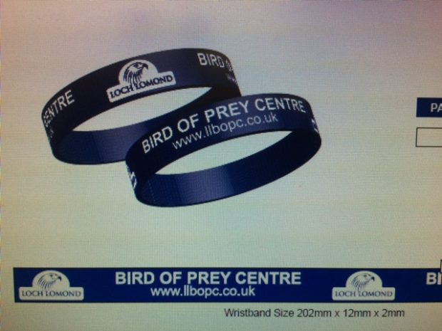 Wristbands for Loch Lomond Bird of Prey Centre